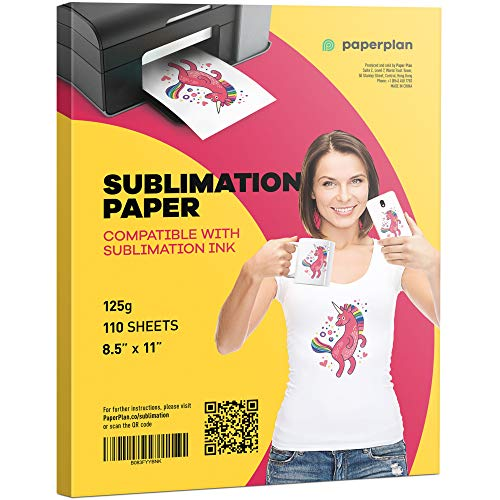 Sublimation Paper 8.5 x 11-125g (110 Sheets) for Inkjet Printer Clear Color Press Transfer Printable Blanks - Best for Light Fabric, Mug, T-Shirt, Bag - Use Sublimation Ink Only // Paper Plan