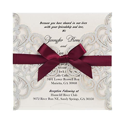 WISHMADE 20 Stück Silber Hochzeitseinladungen Lasercut Spitze Hochzeit Einladungen Kit und Umschläge Brautparty Verlobung Silber Hochzeitskarten (Silver Glitzer)