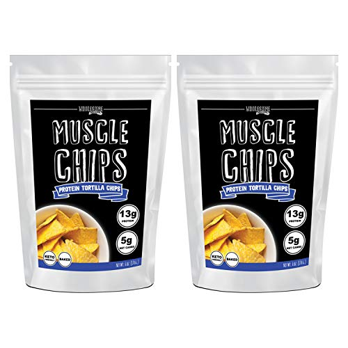 Protein Chips, 13g Protein, 5g Net Carbs, Keto Snacks, Low Carb Snacks, Protein Tortilla Chips, Muscle Chips, Baked Not Fried (2 Pack)