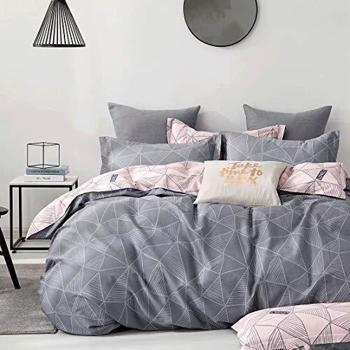 KEAYOO Bettwäsche 135x200 Baumwolle Grau und Rosa Wendebettwäsche mit Dreieckig Zechnung +80x80 Kissenbezug mit Reißverschluss 2teilig Set