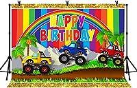 HD 10x7ftハッピーバースデーの背景ベビーシャワーパーティートラックの背景の男の子の誕生日パーティーケーキテーブルバナー写真の背景の写真スタジオの小道具BJLSLY104
