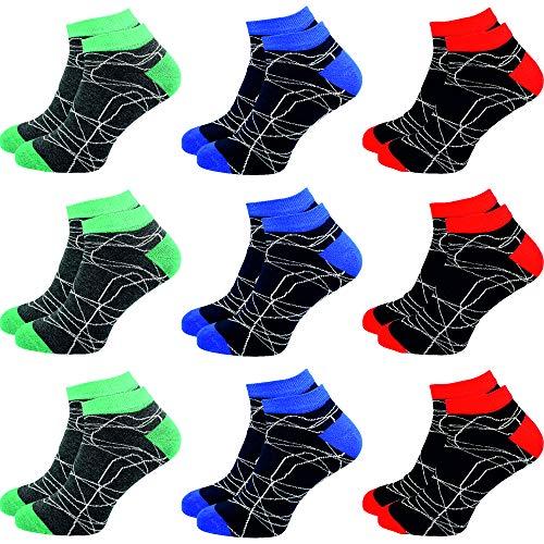 GAWILO 9 Paar Sneaker Socken | Damen & Herren | hoher Baumwollanteil | ohne drückende Naht (35-38, farbig 1)