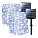 JMEXSUSS Upgraded 2 Pack Solar String Lights Outdoor, Each 33ft 100 LED White Solar Powered Fairy Lights, Solar Christmas Lights PVC for Wedding Halloween Garden Party Decorations Clearance