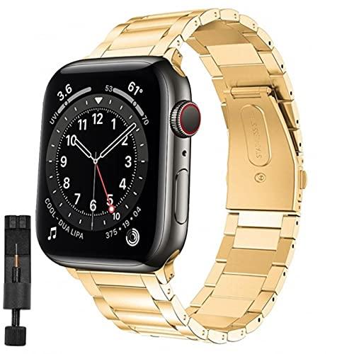 Correas de reloj para apple watch 644 mm 40 mm correa correa de metal de acero inoxidable para iwatch series 5 4 3 42 mm 38 mm pulsera hombres mujeres-oro y herramienta, serie 6 se 40 mm