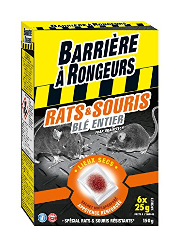 BARRIERE A RONGEURS Appât sur céréales contre l'invasion des Rats & Souris, Prêt à l'emploi, 150 g, BARASOCER150