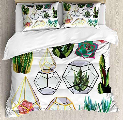 Lplpol Botanical Duvet Cover Set, Low Polygonal Cacti Succulents and Flowers Geometric Terrariums Garden Art Image Bedding Set Comforter Cover 3-Piece Quilt Set with Zipper Closure, King Size