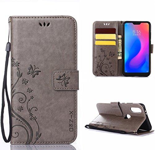 XINKO Xiaomi Mi A2 Lite Hülle, Retro Blumen Muster Design -[Ultra Slim][Card Slot] Wallet Tasche Hülle für Xiaomi Mi A2 Lite (grau)