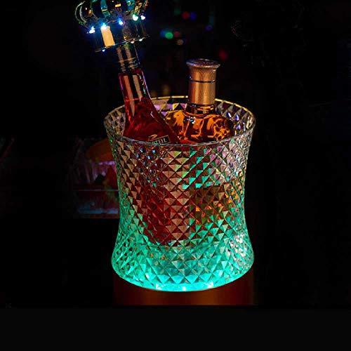 Cubitera,Cubo de Hielo Bar Light Cubo de Hielo Led Champagne Barrel Light Plástico Colorido Beer Barrel Creative Bar Supplies Trompeta/Diamante Cubo de Hielo Light Colorful