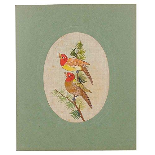 Indien Étagère Papier Fait Main Oiseau Peinture Aquarelle Ethnique Folk Décor Soie Art Pt-120