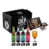 CREW Republic IPA Craft Beer Geschenkbox, Biergeschenk inkl. Verkostungsglas und Tasting Notes (12 x 0,33 l)