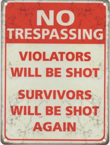 No Trespassing Nostalgic Vintage Retro Advertising Enamel Metal Tin Sign Wall Plaques 200mm x 150mm by Original Metal Sign Co