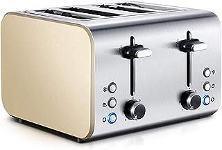 Grille-pain 4-tranches grille-pain, petite fabricant de petit-déjeuner en acier inoxydable pour pain et grille-pain gaufre...