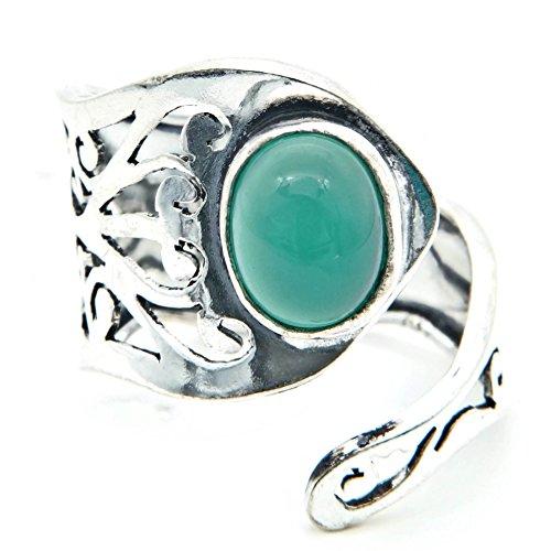 mantraroma Ring versilbert silbern Grüner Onyx grün (922-03-023-14)