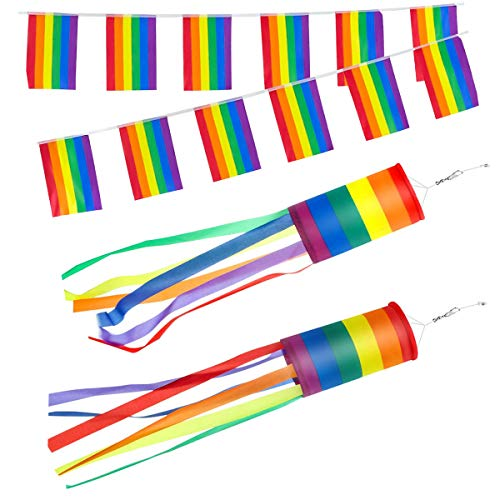 tangger 2PCS Manches à Air Arc-en-Ciel Windsock Flag Rainbow 13 * 88cm,Drapeau Arc-en-Ciel LGBT Gay Pride Rainbow Flag Décoration Suspendue Extérieure 10m 40 Petit Drapeau