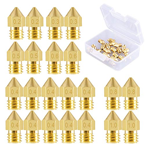 SIQUK 22 Pieces 3D Printer Nozzles MK8 Nozzle 0.2mm, 0.3mm, 0.4mm, 0.5mm, 0.6mm, 0.8mm, 1.0mm with Storage Box for 3D Printer Makerbot Creality CR-10