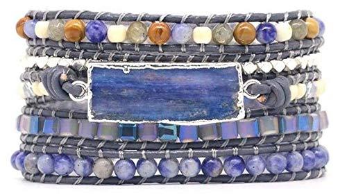 """Pulsera Wrap""""Libre d'Etre"""" de perlas de cianita – Joya de piedras naturales"""