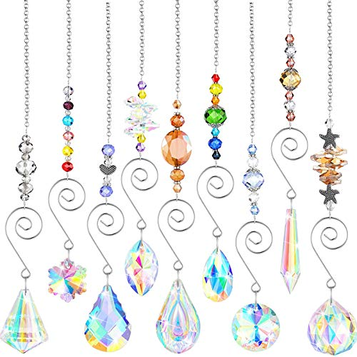 laoonl Crystal Sun, Chakra Crystals, Hanging Crystal Suncatcher Sensor for Home, Garden, Curtain Pendant, Hanging Decoration