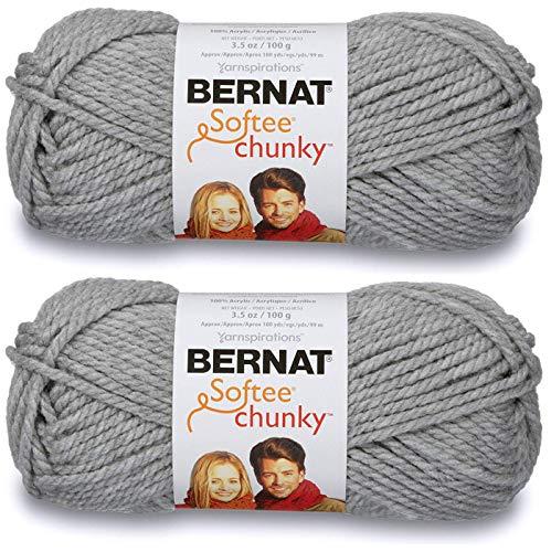 2-Pack - Bernat Softee Chunky Yarn, Grey Heather, Single Ball