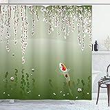 Lunarable Koi Fish Shower Curtain, Japanese Koi Fish Painting Style Hanging Cherry Flowers Floating Leaves, Cloth Fabric Bathroom Decor Set with Hooks, 75' Long, Orange White