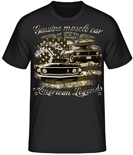 Shirtmatic Genuine Mustang 60s 70s Vintage Oldtimer American Muscle car T-Shirt Design (3XL, 70s Stang schwarz)