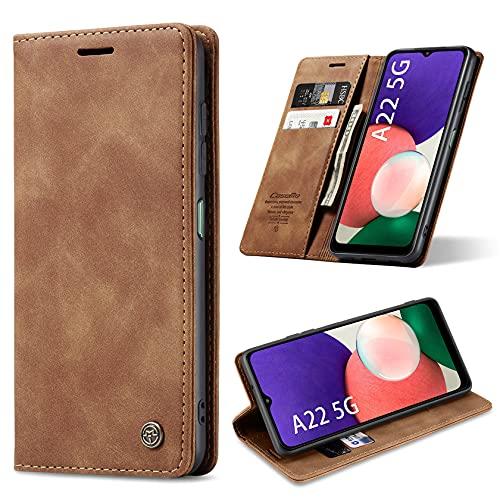 ivencase Cover Compatibile con Samsung Galaxy A22 5G, Book Cover Custodia Flip Caso in PU Pelle Portafoglio Magnetica Porta Carta Kickstand Cover Wallet Case (Marrone)