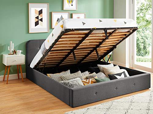 HOMIFAB Lit Coffre 180x200 cm Gris Anthracite avec tête de lit + sommier à Lattes - Collection Kate