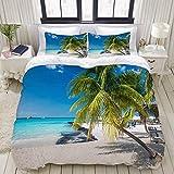 Funda de edredón, Coconut Palm en Caribbean Beach Cancún México, Juego de Ropa de Cama Juegos de Fundas de edredón de poliéster Ultra cómodo y Ligero de Lujo (3 Piezas)