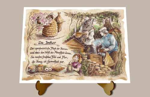 Geschenk Imker Bienenzüchter Zeichnung Color 30 x 21 cm mit Aufsteller