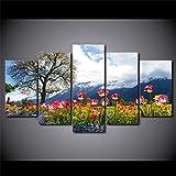 Wohnzimmer Dekor 5 Stück Blumen Himmel Baum Wandkunst