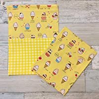 Jam's Ukulele MOR-033-4 / 給食袋&ナフキンセット 巾着袋 イエロー ソフトクリーム 女の子 ランチマット ランチクロス 入学準備 入学祝い 学用品 給食ナフキン ハンドメイド 手作り プレゼント