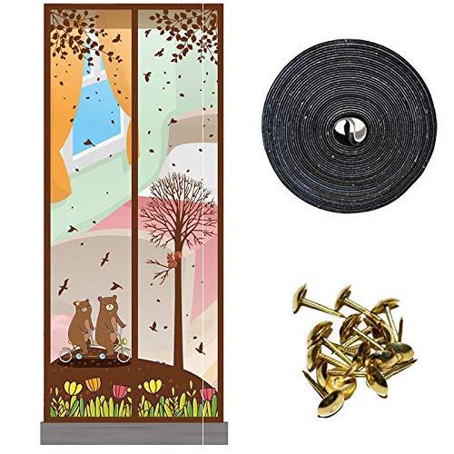SUIYI Braunbärenmuster Katzenklappe Fliegengittertür 120x220cm / 47x86inches Insektenschutz Tür Klemmen für Balkon Schiebe Wohnzimmer,Ohne Bohren