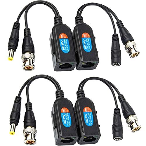 Greluma 4 Pcs Balun HD Cat5 RJ45 vers BNC émetteur-récepteur Baluns Vidéo Passif avec Connecteur D'alimentation pour Caméra 1080P 3MP 4MP 5MP 8MP HD-CVI/TVI/AHD/CVBS / 960H