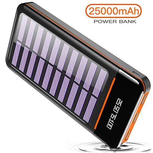 RLERON Powerbank, 25000 mAh, tragbares Solar-Ladegerät, externer Akku mit DREI USB-Ausgängen und Zwei Eingängen (Micro & Typ C) und DREI LED-Leuchten, kompatibel mit Allen Smartphones