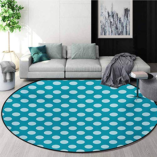 Buy Bargain RUGSMAT Teal Non Slip Round Rugs,Retro Style Pattern with Polka Dots Soft High Seas Colo...