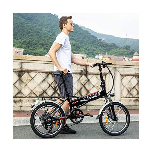 Electric Bikes ANCHEER Folding Electric Bike for Adults, 20″ Electric Bicycle/Commute Ebike with 250W Motor, 36V 8Ah Battery, Professional 7 Speed Transmission Gears (Black)