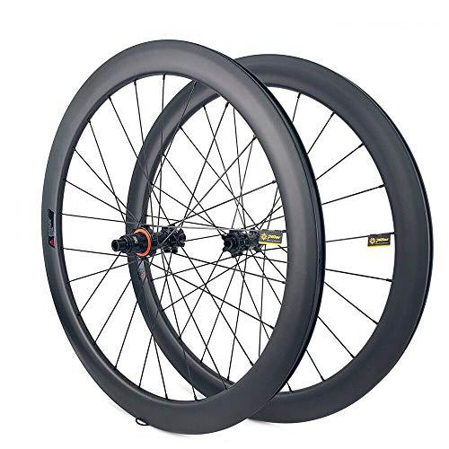 JIMAITEAM 700C Disc Brake Wheelset 38/50mm Depth Clincher Tubeless Disc Brake Road Bike Carbon Wheels 25mm Width Rim Carbon Fiber Gravel Bike CX Disc Wheelset for 7/8/9/10/11 Speed (50mm/25mm)