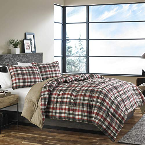 Eddie Bauer Home | Astoria Collection | Bedding Set-Soft and Cozy, Reversible Plaid Down Alt Comforter with Matching Sham(s), Twin, Saddle