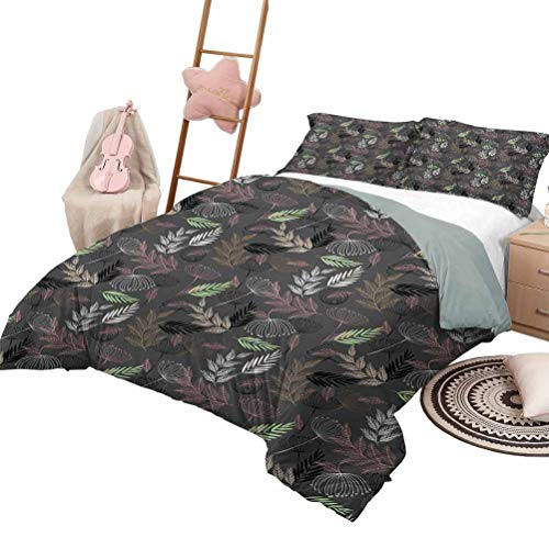 Daybed Quilt Set Floral Soft All-Season Cotton Blend Bedspread Abstract Modern Art Pattern with Dandelion Blossoms Foliage and Rustic Leafy Stems Full Size Multicolor