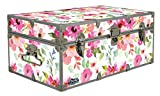 C&N Footlockers Designer Storage Trunks - Nature Themes - 32 x 18 x 13.5 Inches - Durable and Built to Last - Lockable (Floral Watercolor)