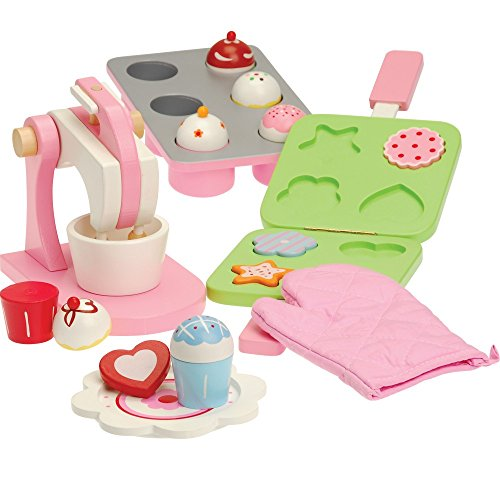 Constructive Playthings SNG-202 All Wood Pretend Play Baking Set with Mixer, Cookie Press, Cookies and Cupcakes/16 Piece, Grade: Kindergarten to 3