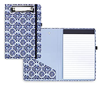 Vera Bradley Blue Mini Clipboard Folio with Refillable 9 x6  Lined Notepad Interior Pocket and Pen Loop Ikat Island Tile
