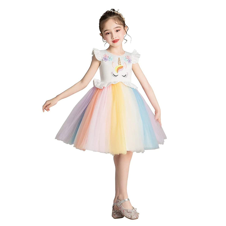 フリースキー(FREESky)夏子供ドレス 女の子 発表会 七五三 パーティー 出演服 フォーマル チュールスカート 入園式 ワンピース 3-8歳に適合
