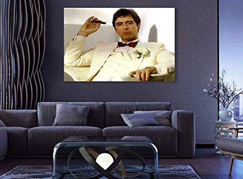 Scarface Tony Montana Light Edition Premium The World is Yours Al Pacino AXXLL Wall Decor/Home Decoration Stretched Gallery Canvas Wrap Giclee Print Ready to Hang (8' HX12 W)