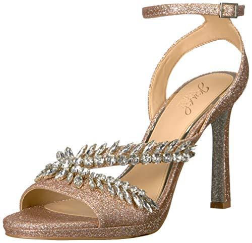 Jewel Badgley Mischka Women's KAIRA Sandal, rosegold glitter, 7.5 M US