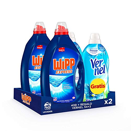 Wipp Express Detergente Líquido Azul 40 Dosis + Vernel Suavizante Cielo Azul 57 Dosis (Gratis!) - Pack de 2