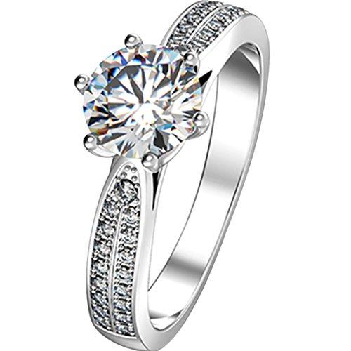 2Ct Star brillante anillo de plata esterlina para las mujeres nscd diamante anillo de compromiso 18K chapado en oro blanco