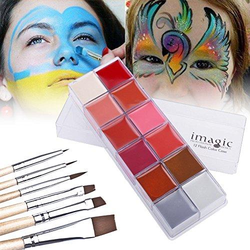 12 Couleurs Peinture Pigment de Visage Corps Professionnel Huile Palette d'Art Maquillage pour Halloween Fête (#1)