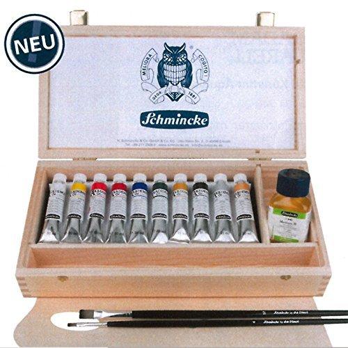 Schmincke AKADEMIE Oelfarben im Holzkasten, 10 x Tb. 20 ml inkl. Gold und Silber, da Vinci Pinsel Größe 4 und 10 und Medium W 60ml 79 707 097