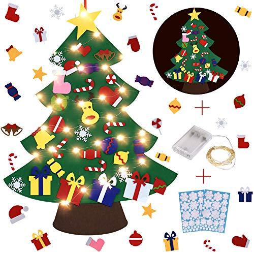 Toplife Árbol de Navidad del Fieltro 3.3FT DIY Fijó con 30PCS Ornamentos Desmontables,50 Luces LED,2 Pegatinas Ventana de Nieve,Regalo Colgantes Navidad de Pared para Decoración de la Navidad