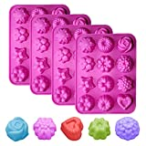 4 Pack 12 Cavities Flowers Silicone Soap Molds Hand Made Ice Cake Jelly Candy Making Moulds Cake...
